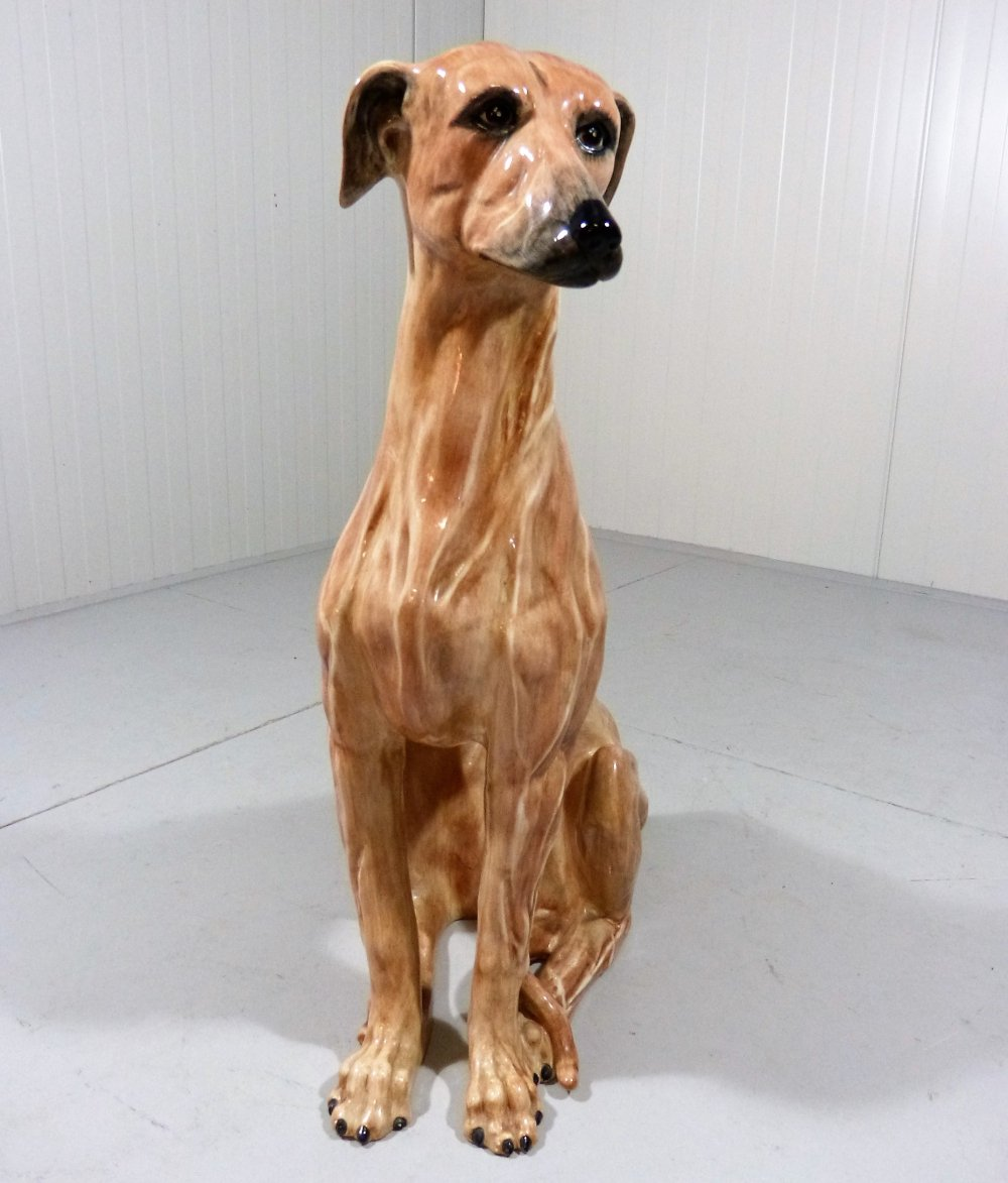 Large terracotta greyhound statue, Italy 1960