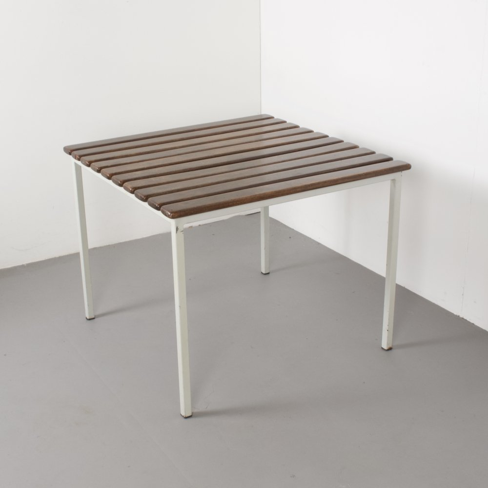 White Meta Slatted Coffee Table, Holland 1970s