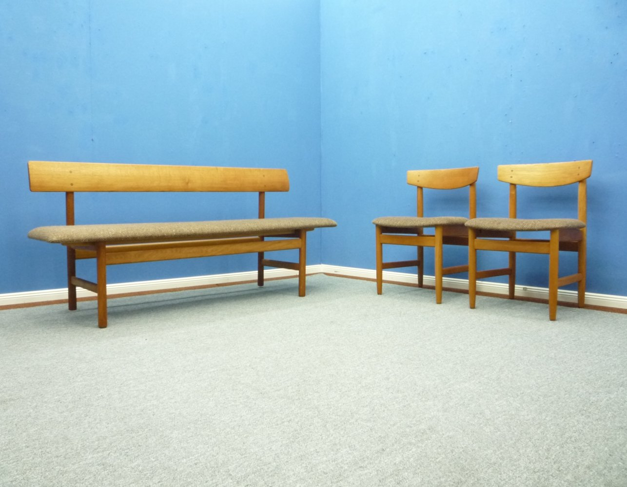 Danish 3171 Bench & Chairs by Borge Mogensen, 1960s