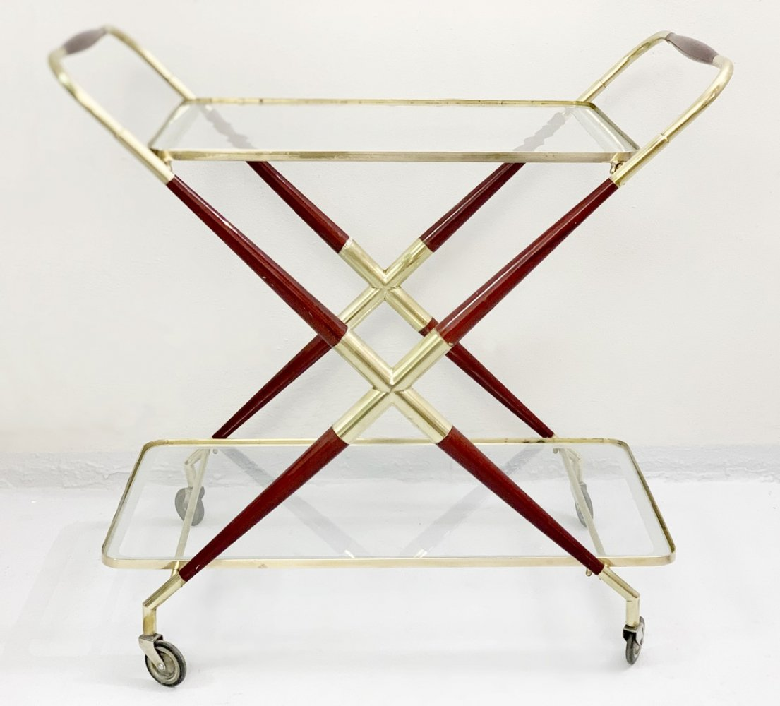 Cesare Lacca Gilt Brass And Wood Trolley Bar, 1950s