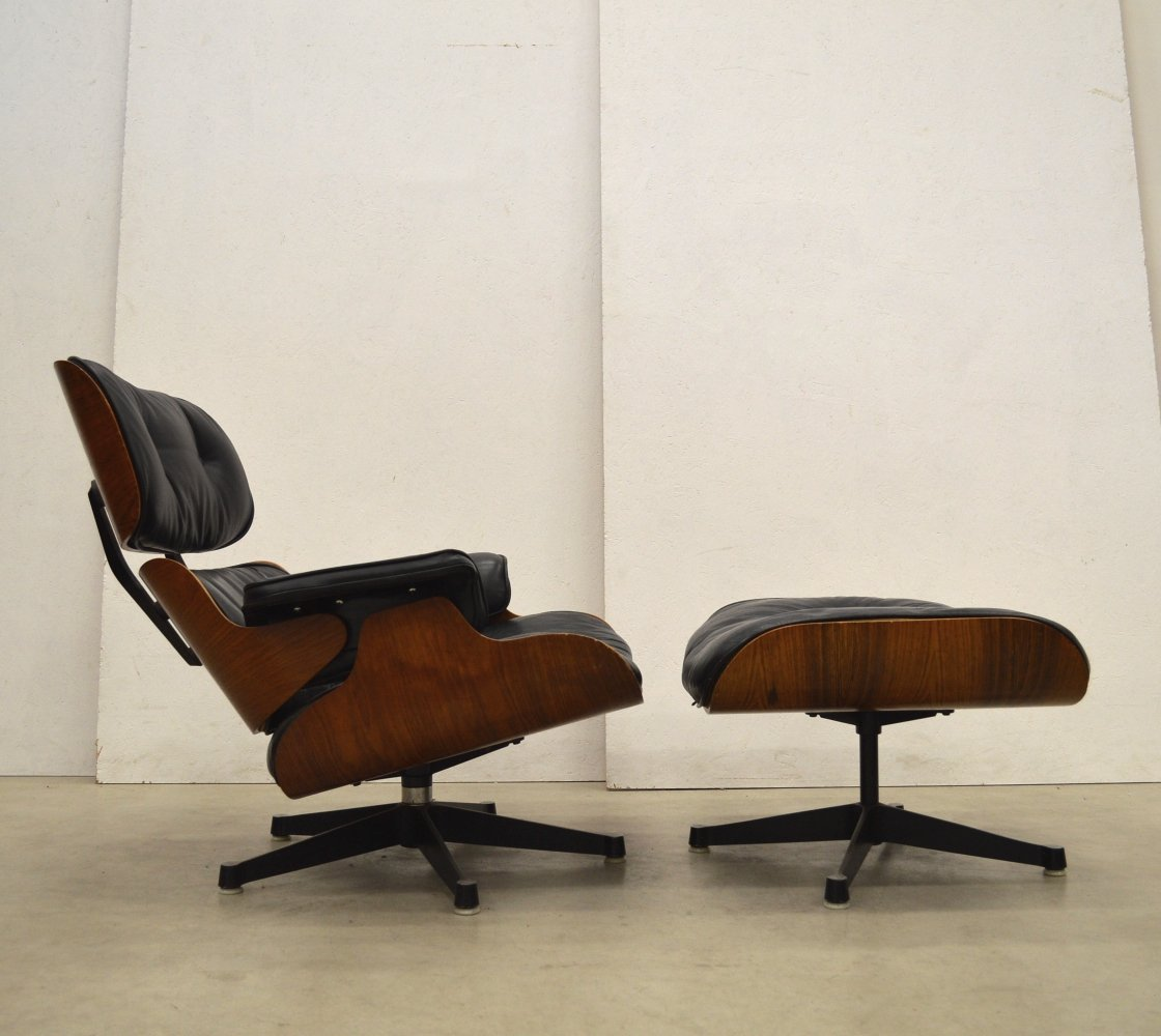 1st Edition Lounge Chair & Ottoman by Charles Eames for Herman Miller, 1950s