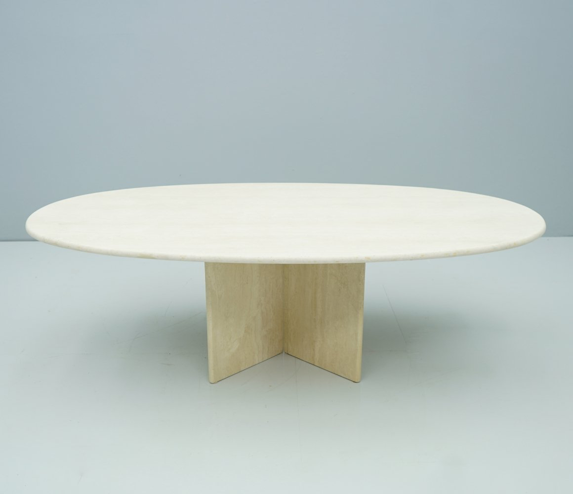 Oval Travertine Coffee Table, 1970s