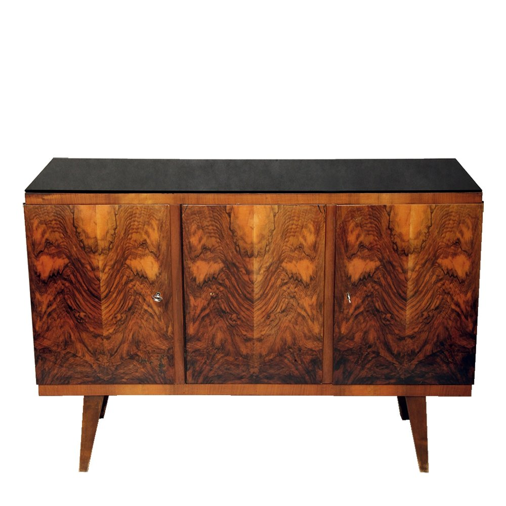 Sideboard / buffet with black glass top, Poland 1960s