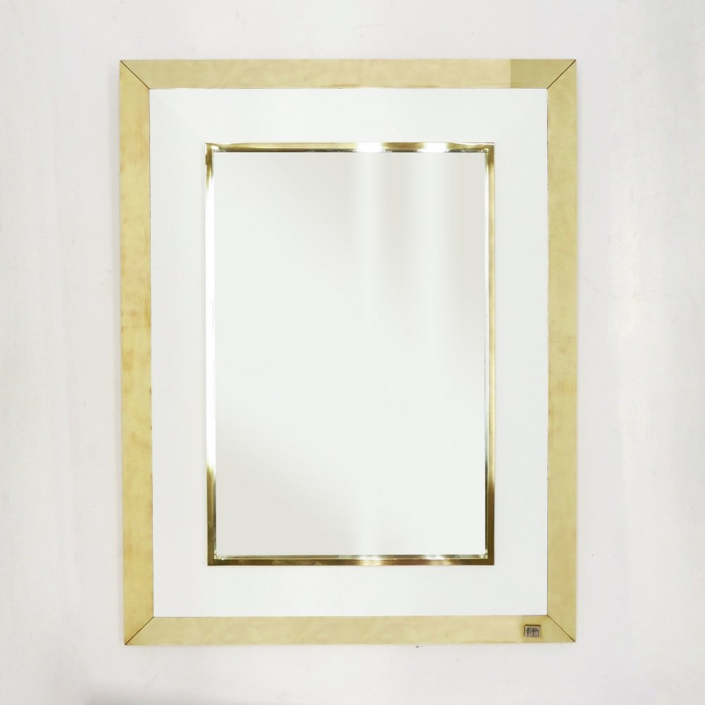 Signed J.C. Mahey wall Mirror in white Lacquer & brass, 1970
