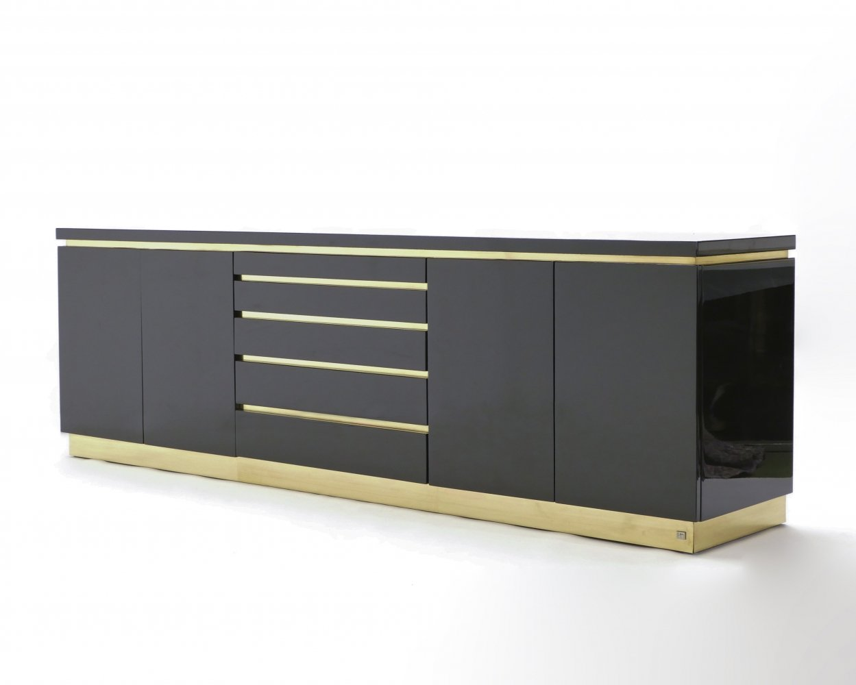 Large Signed J.C. Mahey brass black lacquered sideboard, 1970s