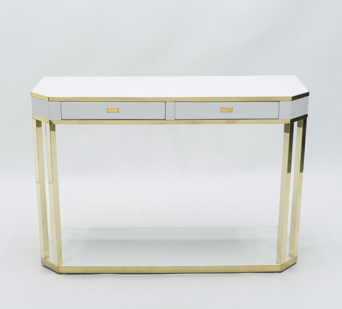 J.C. Mahey white lacquer & brass console, 1970s