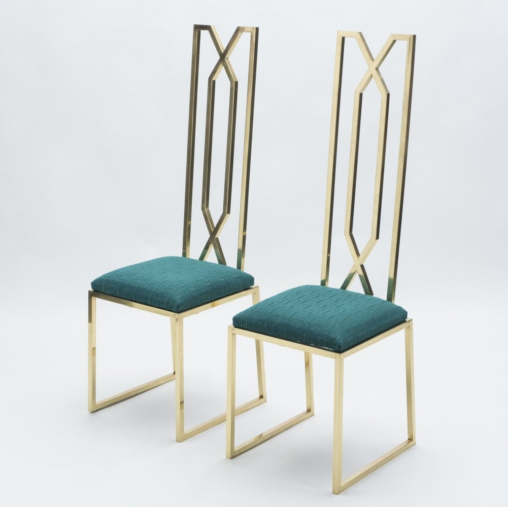 Rare pair of brass chairs signed by Alain Delon for Jean Charles, 1970s