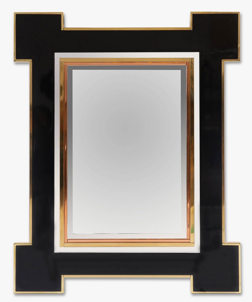 Rare lacquer & brass mirror by Alain Delon for Maison Jansen, 1975