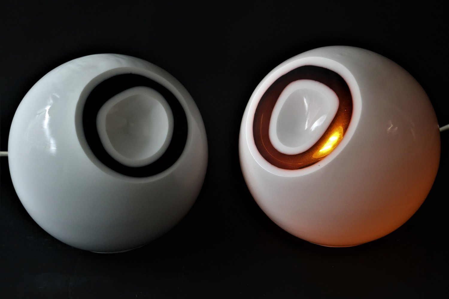 Pair of Vintage white & orange glass table lamps, 1960s