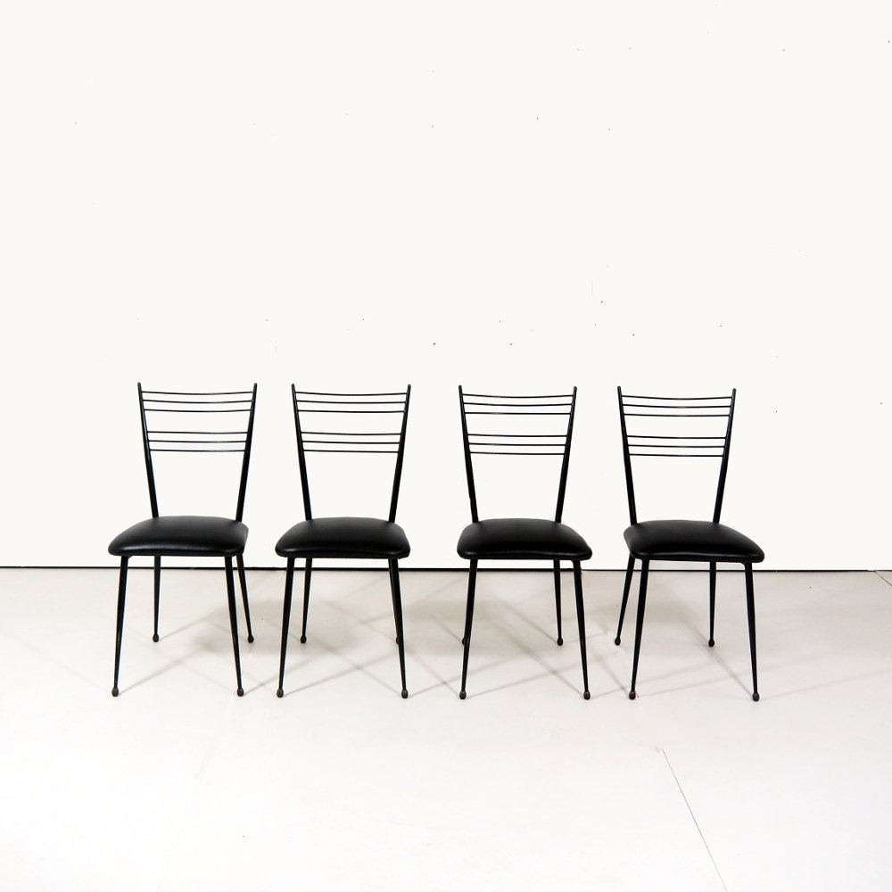 Set of 4 chairs by Colette Gueden for Atelier Primavera, 1950s