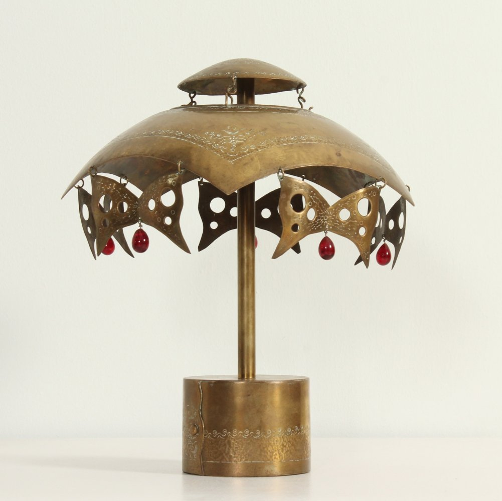 Turkish Brass Table Lamp with Masks, 1950