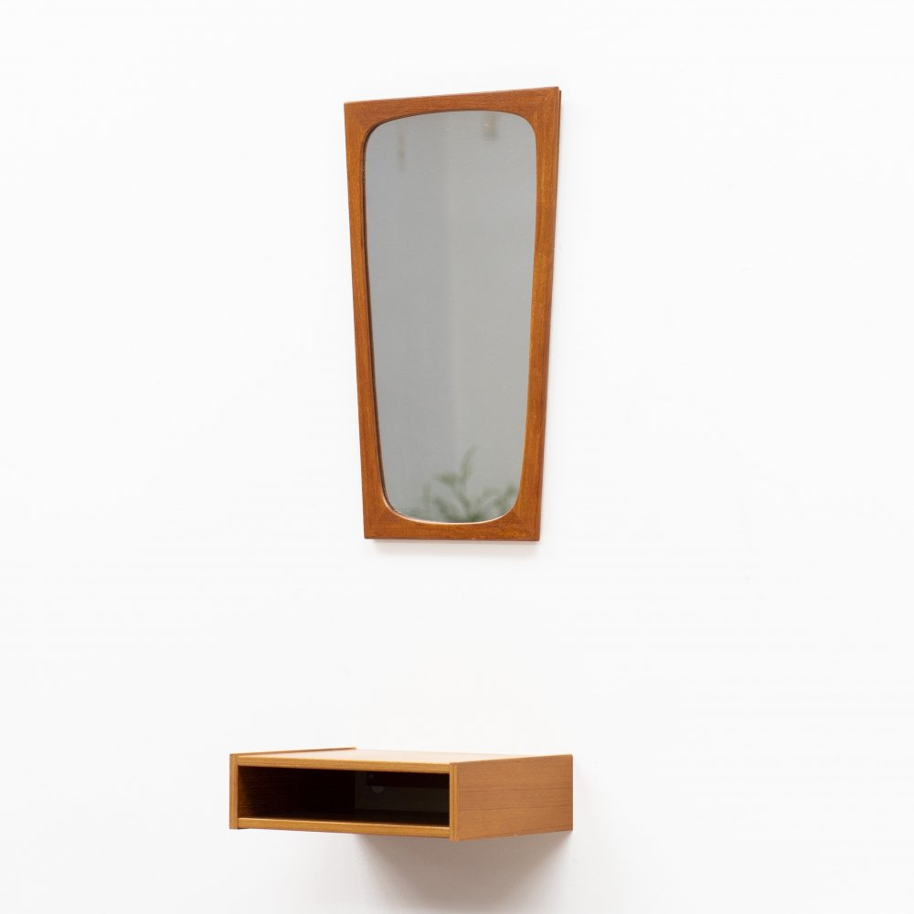 Solid teak & glass Mirror with floating wall shelf