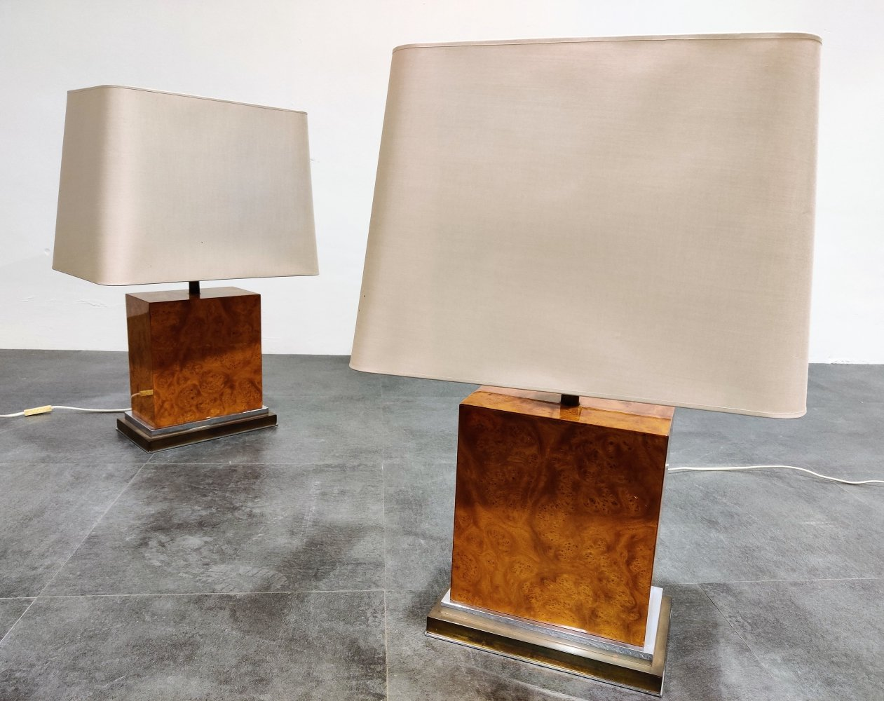 Pair of Jean Claude Mahey burl wooden table lamps, 1970s
