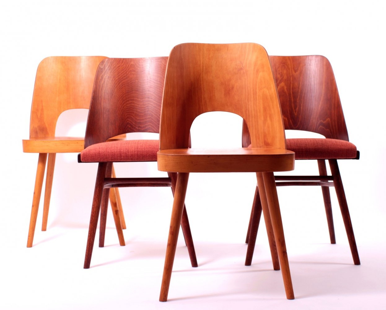 Set of 4 Dining Chairs by Oswald Haerdtl for TON / Thonet