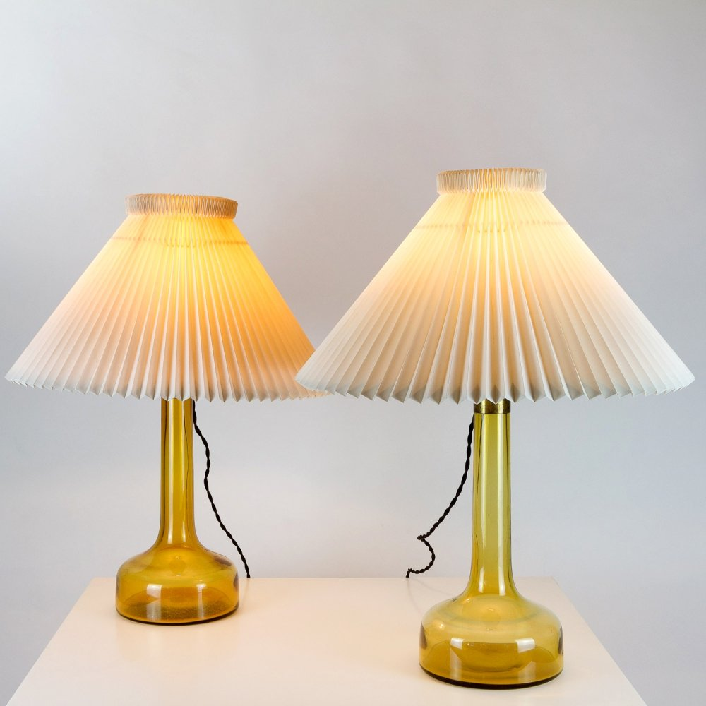 Pair of Yellow Holmegaard Glass Table Lamps by Le Klint, Denmark 1960s