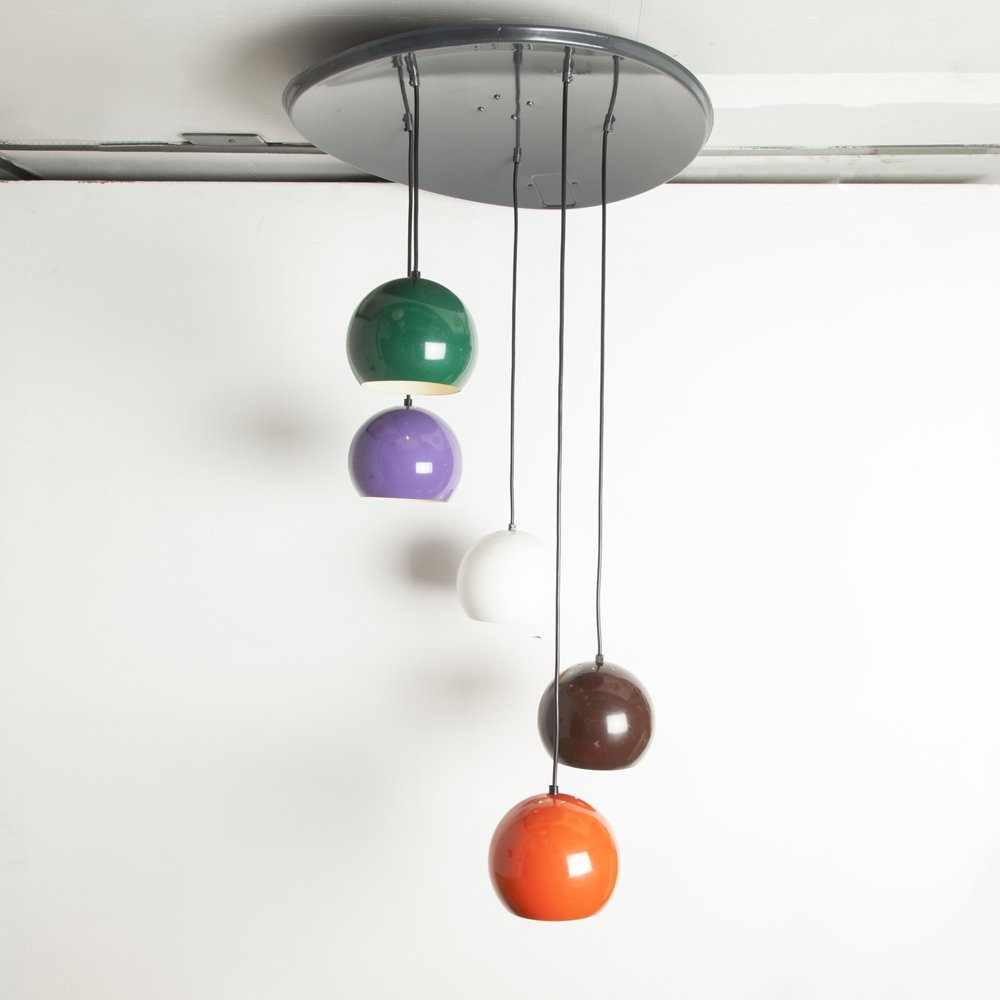 Hanging lamp with 5 colored globes, 1970s