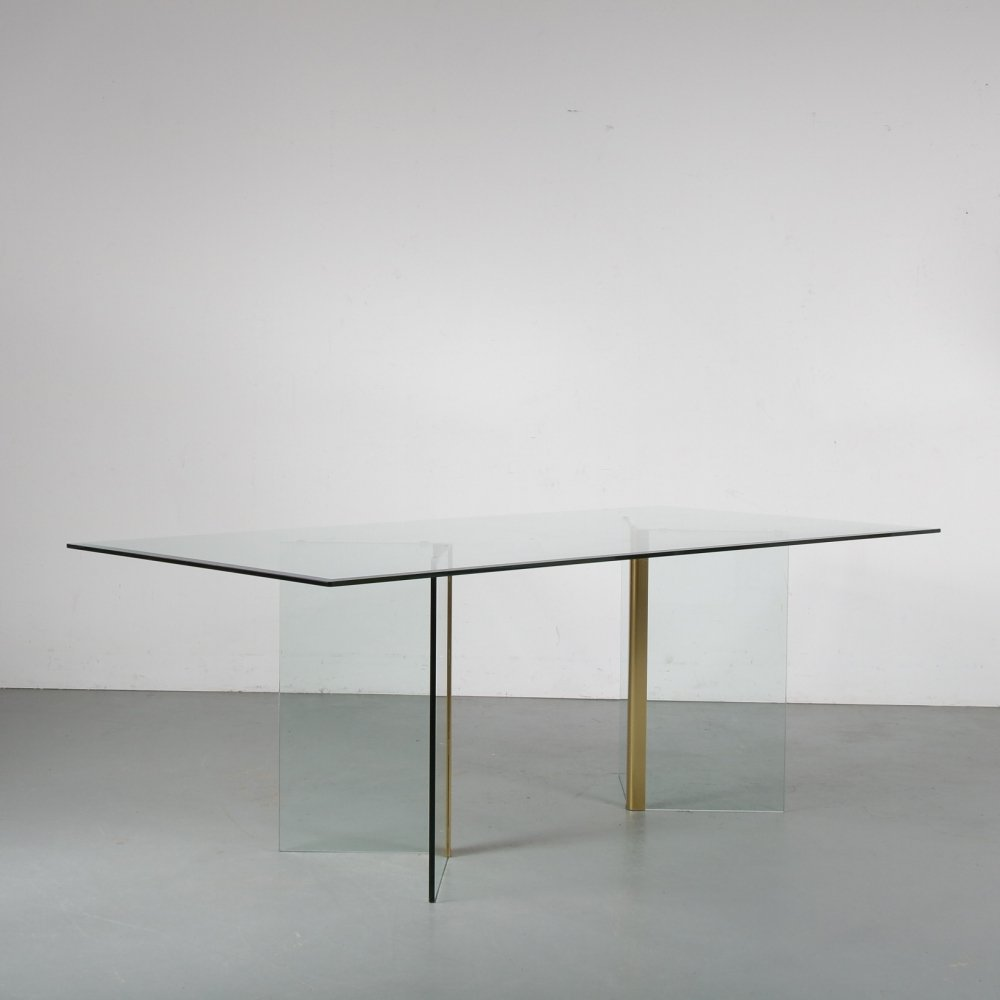 Glass dining table by Gallotti & Radice, Italy 1970s