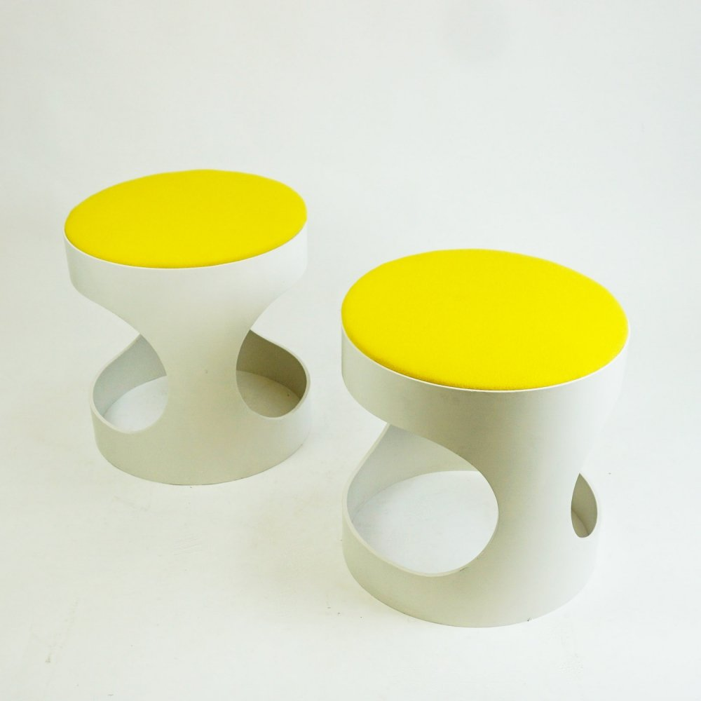 Pair of white plywood stools by Opal Germany, 1970s