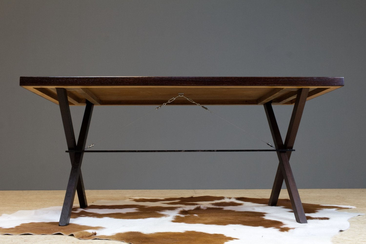 Metz & Co table in wenge with x-wing legged frame, 1970s