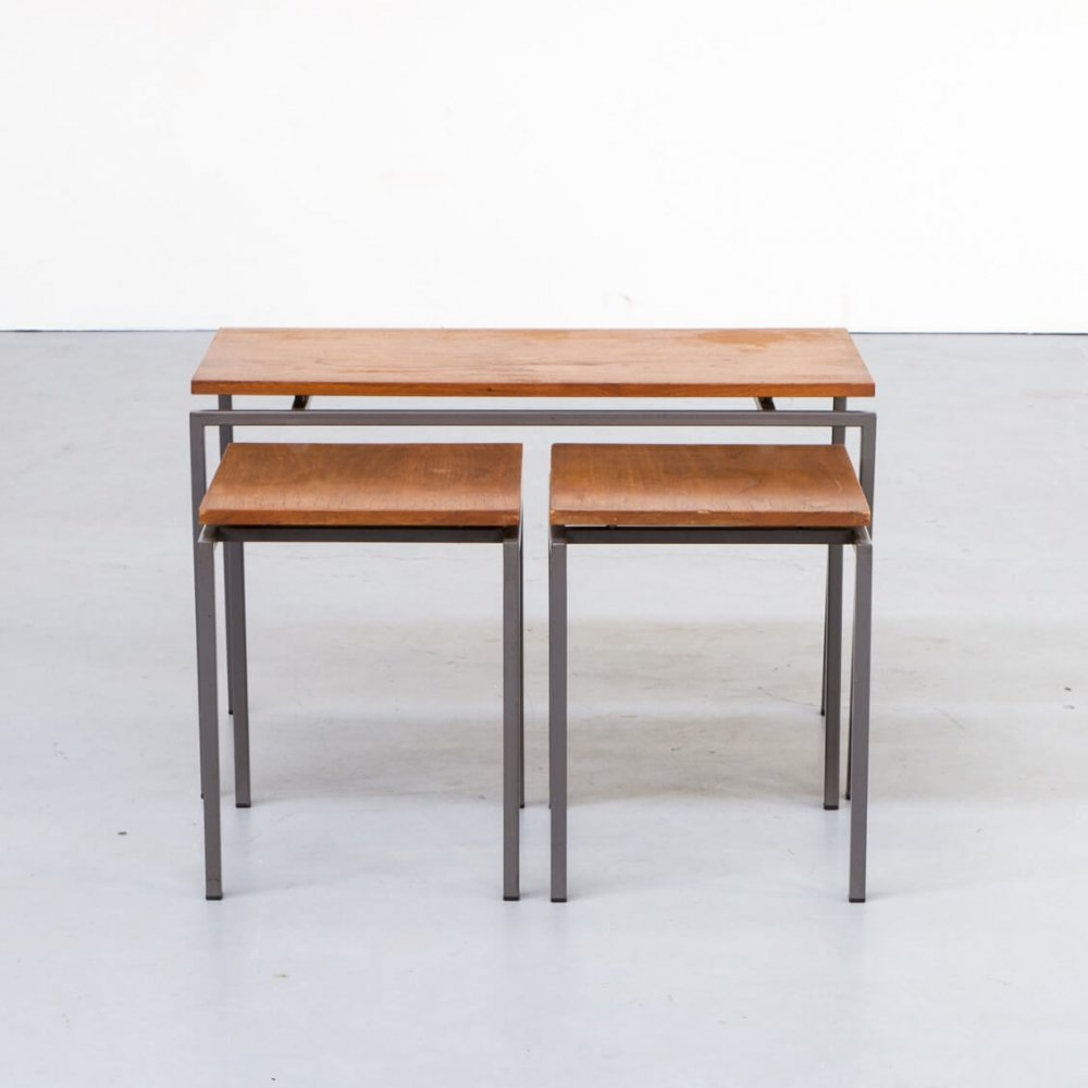 Set of 3 Cees Braakman nesting tables for Pastoe, 1970s