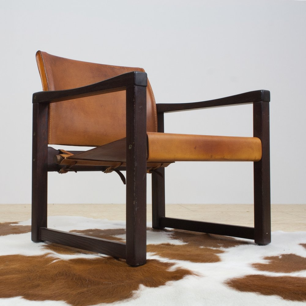 Leather & pine Safari chair by Karin Mobring for IKEA, Sweden 1970s