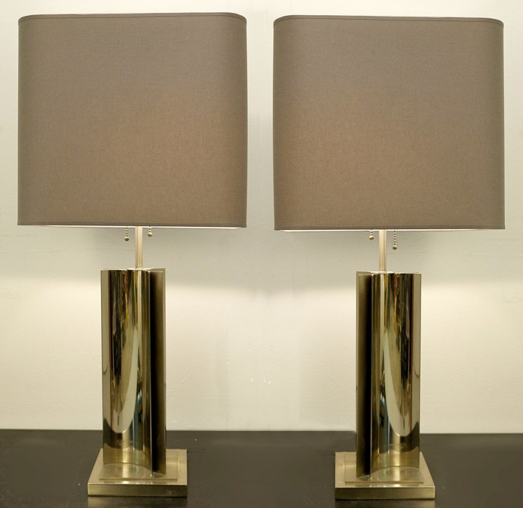 Pair of Chrome Table Lamps, 1970s