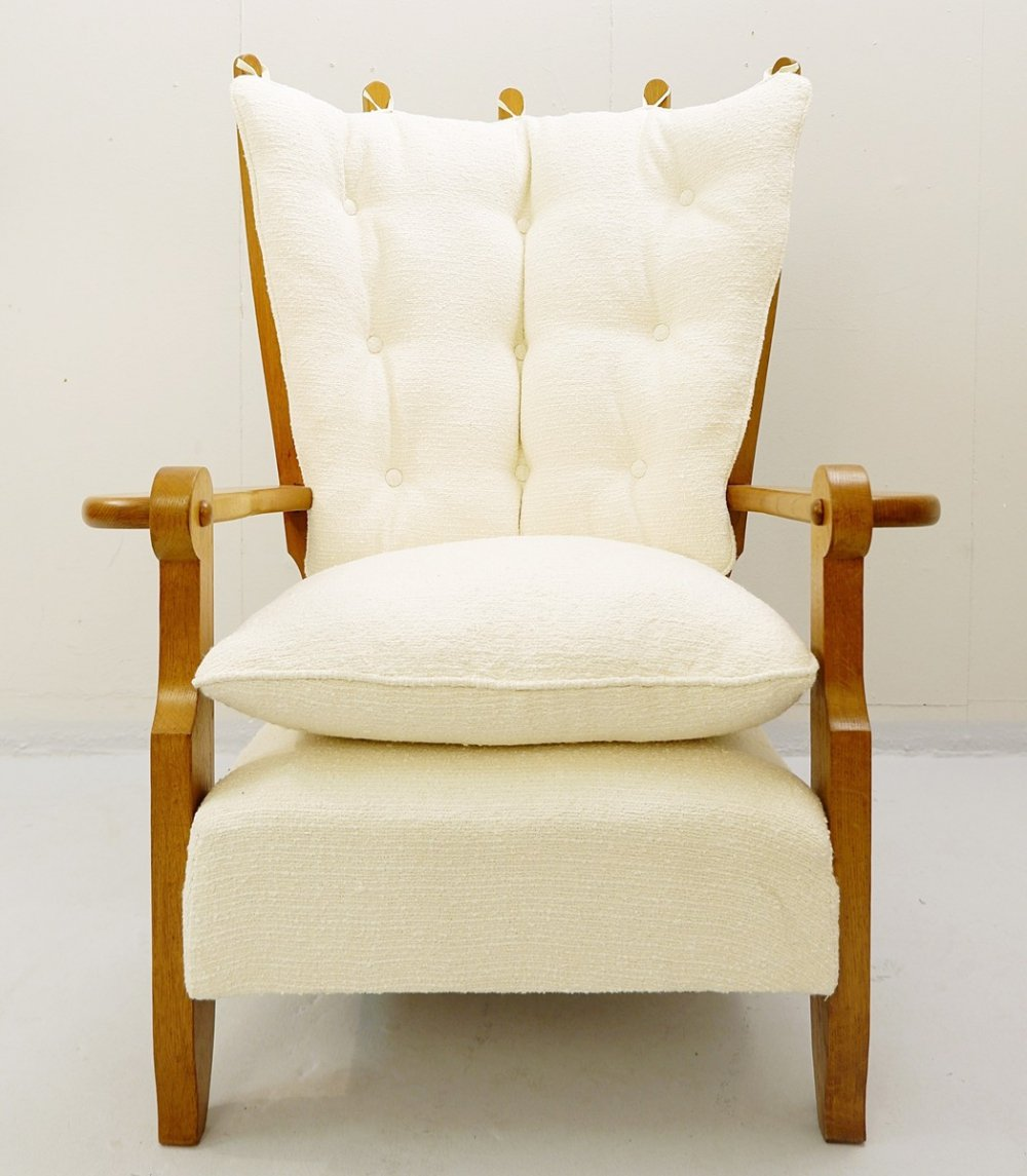 Guillerme & Chambron Carved Oak High Back Armchair