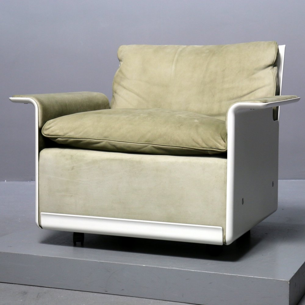 Greenish Suede Lounge Chair by Dieter Rams for Vitsoe, 1970s