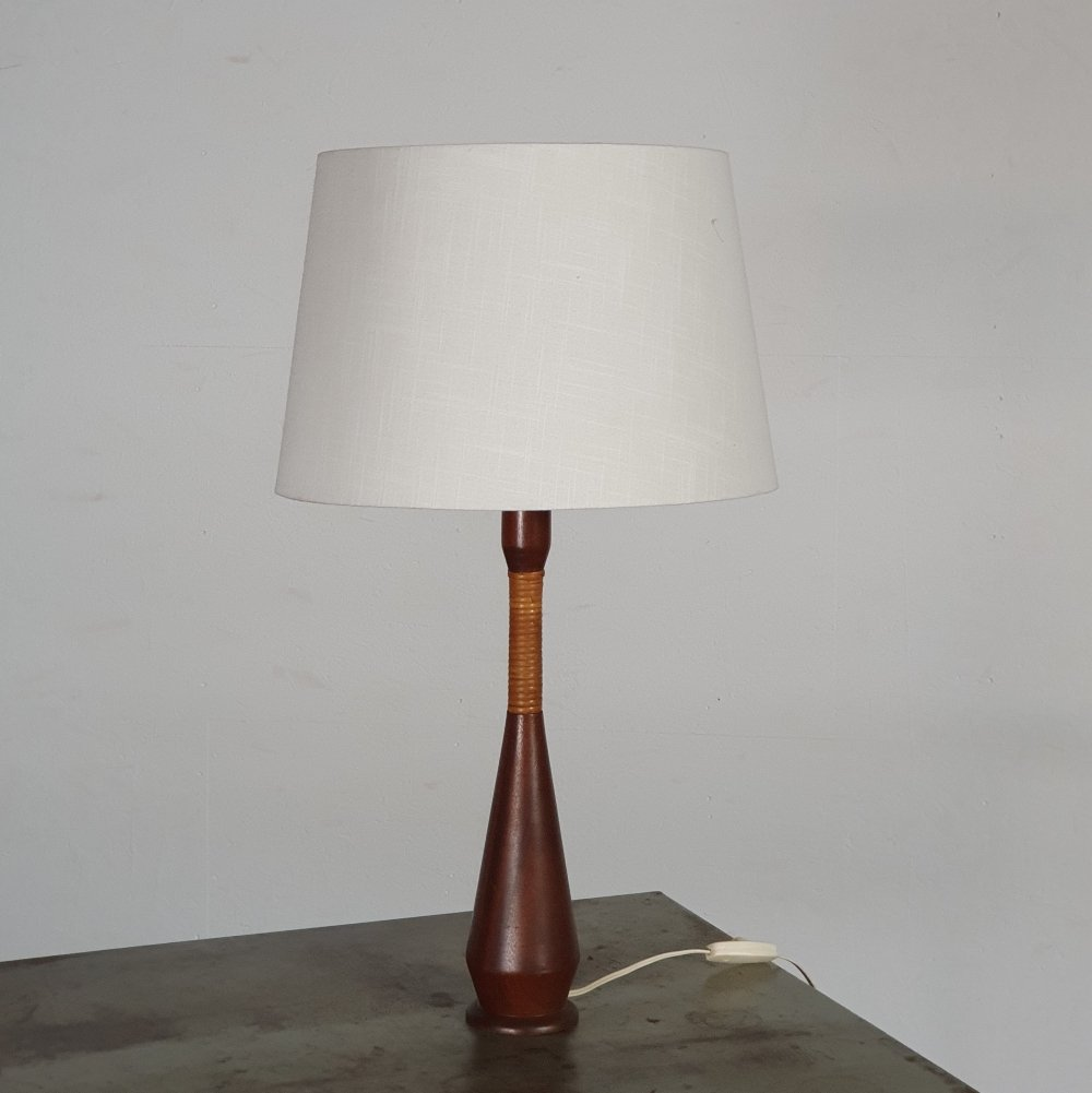 Large table lamp in teak wood, 1960s
