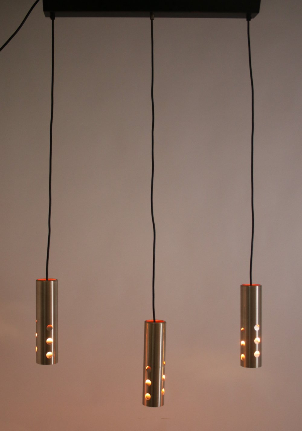 Space age aluminium Hanging lamp with 3 light points