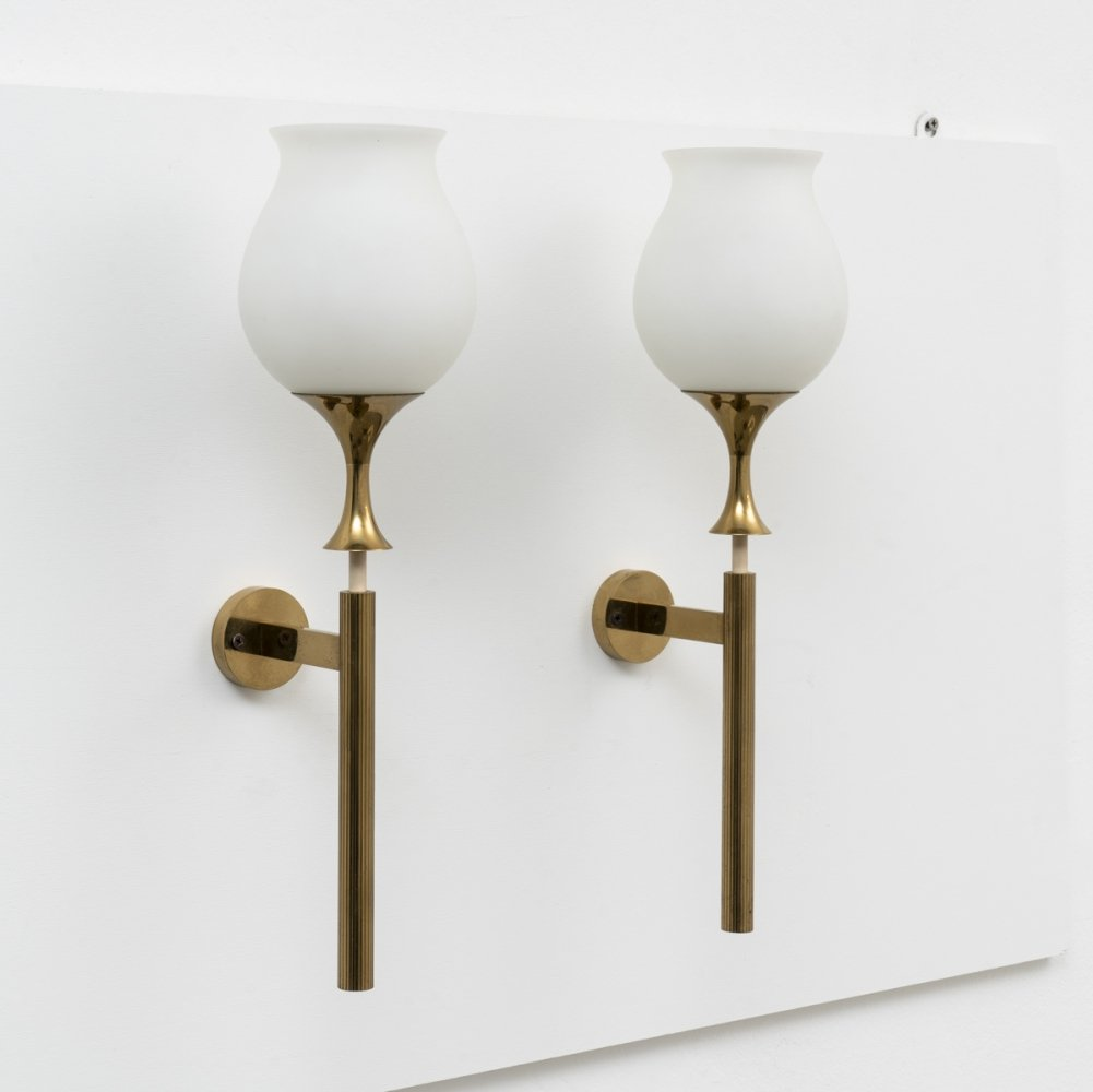 Pair of signed large wall sconces by Angelo Lelii for Arredoluce, 1956