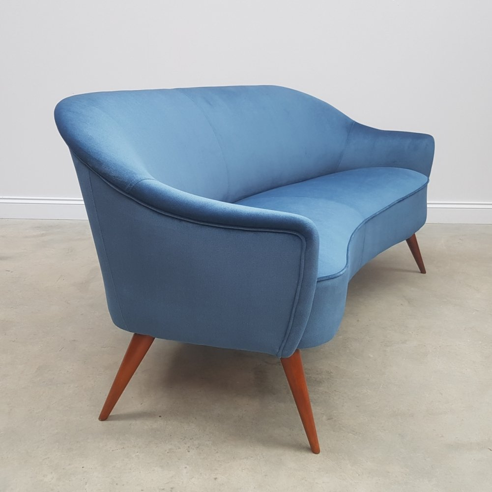 French Two Seat Sofa / Love-seat in Blue Velvet, 1950s