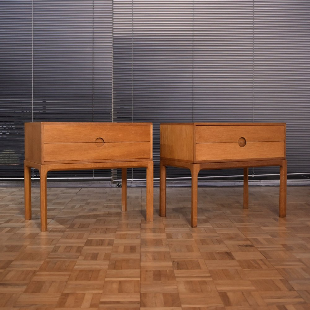 Pair of Kai Kristiansen Oak Nightstands for Aksel Kjersgaard