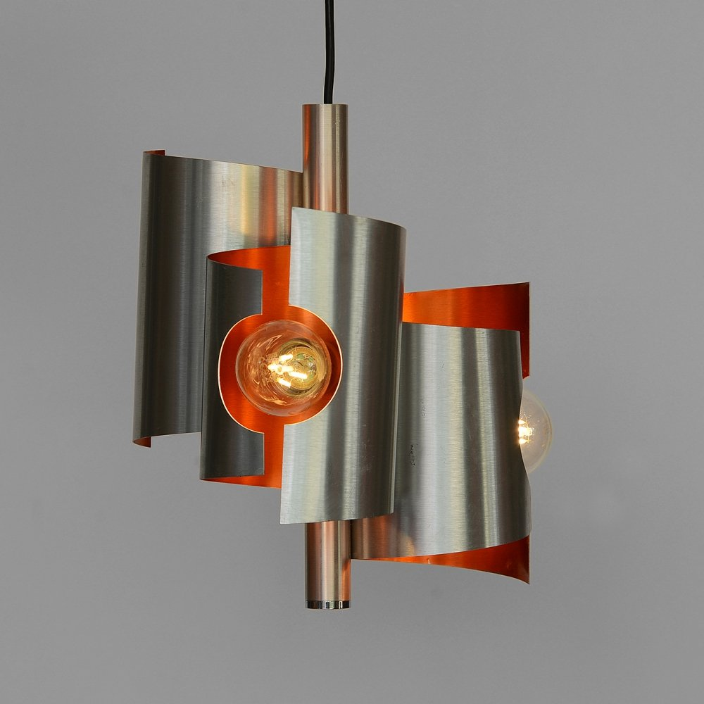 Three bulb pendant light in brushed aluminum, Sweden 1970s