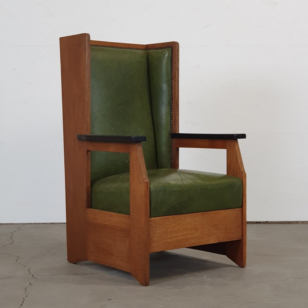 Modernist high-back chair by H. Wouda for Pander, 1924