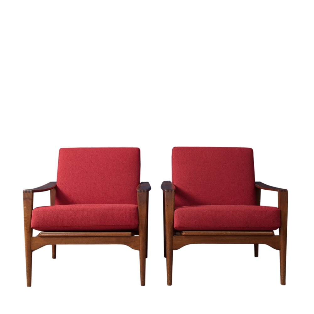 Pair of Lounge Chairs by Illum Wikkelso, 1960s
