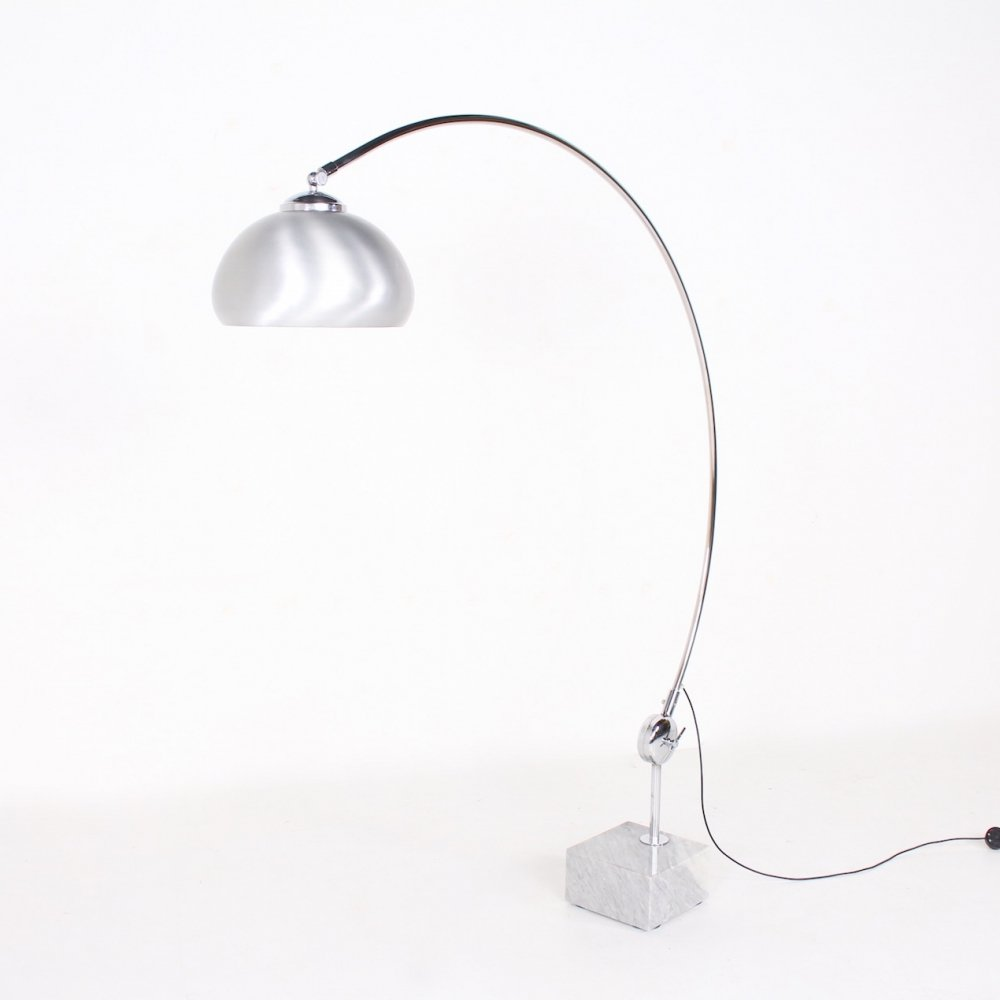 Brushed aluminium, chrome & carrare marble arc lamp, 1970