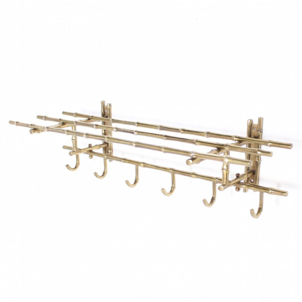 Solid brass bamboo style wall coat rack by Maison Baguès, ca 1950