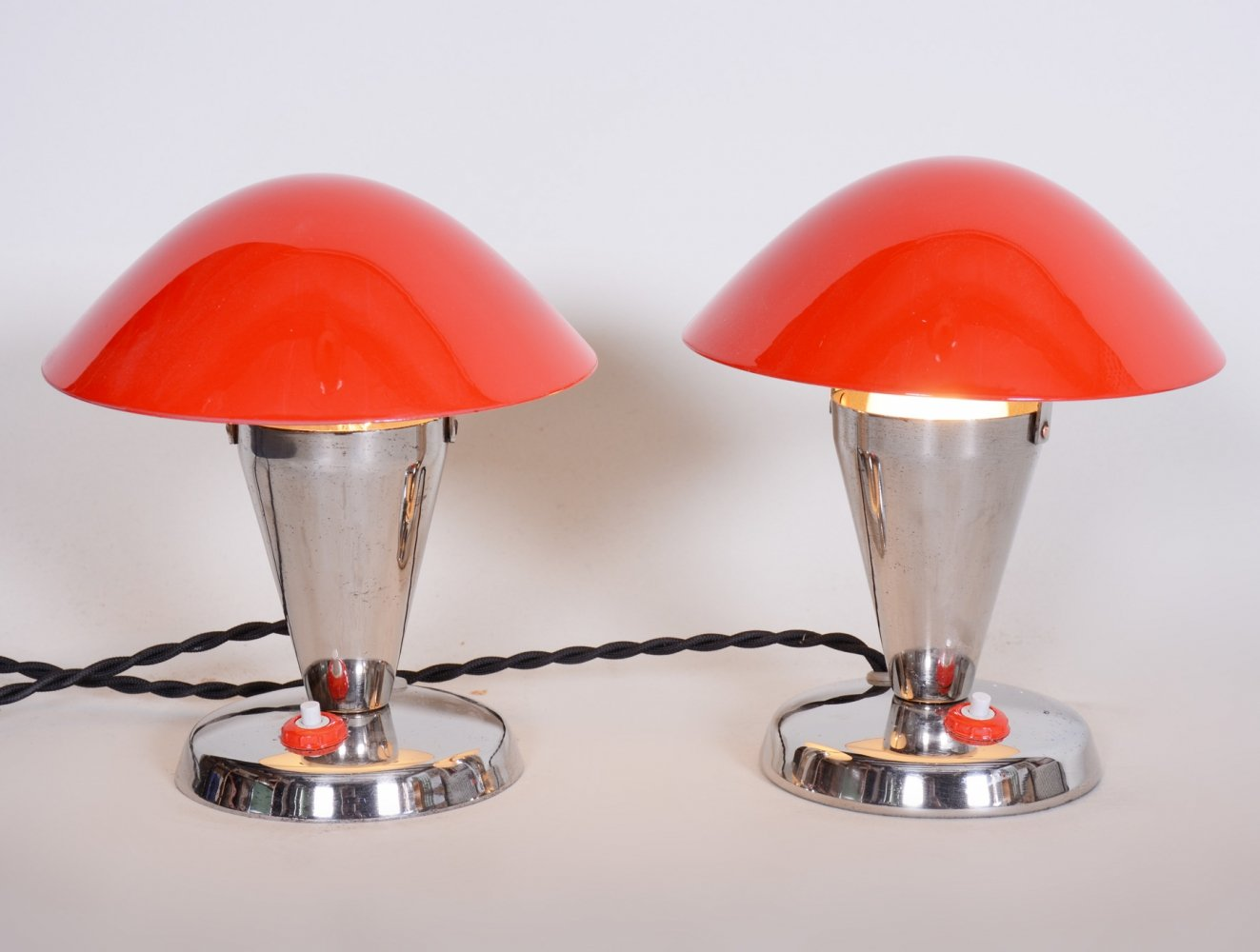 Pair of Czech Chromed Red Bauhaus Lamps by Napako, 1930s