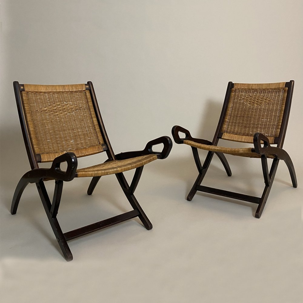 Pair of Folding chairs designed by Gio Ponti in 1958