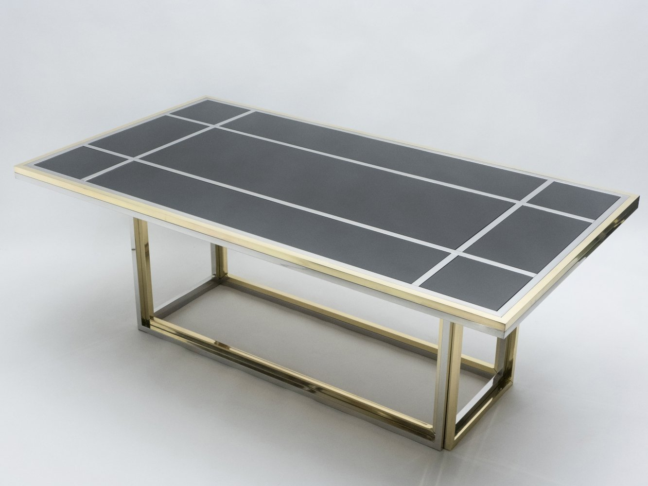 Large brass, chrome & black glass dining table by Romeo Rega, 1970s