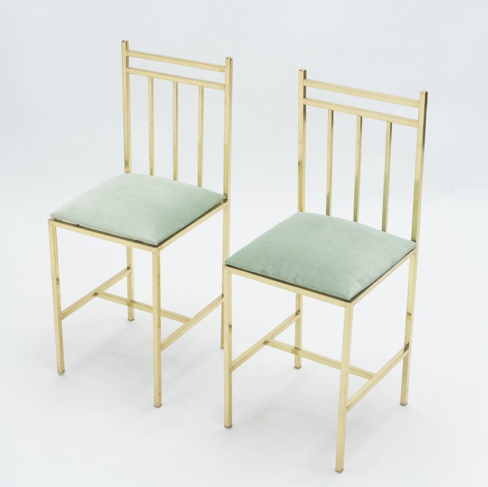 Rare pair of brass childs chairs, 1960s