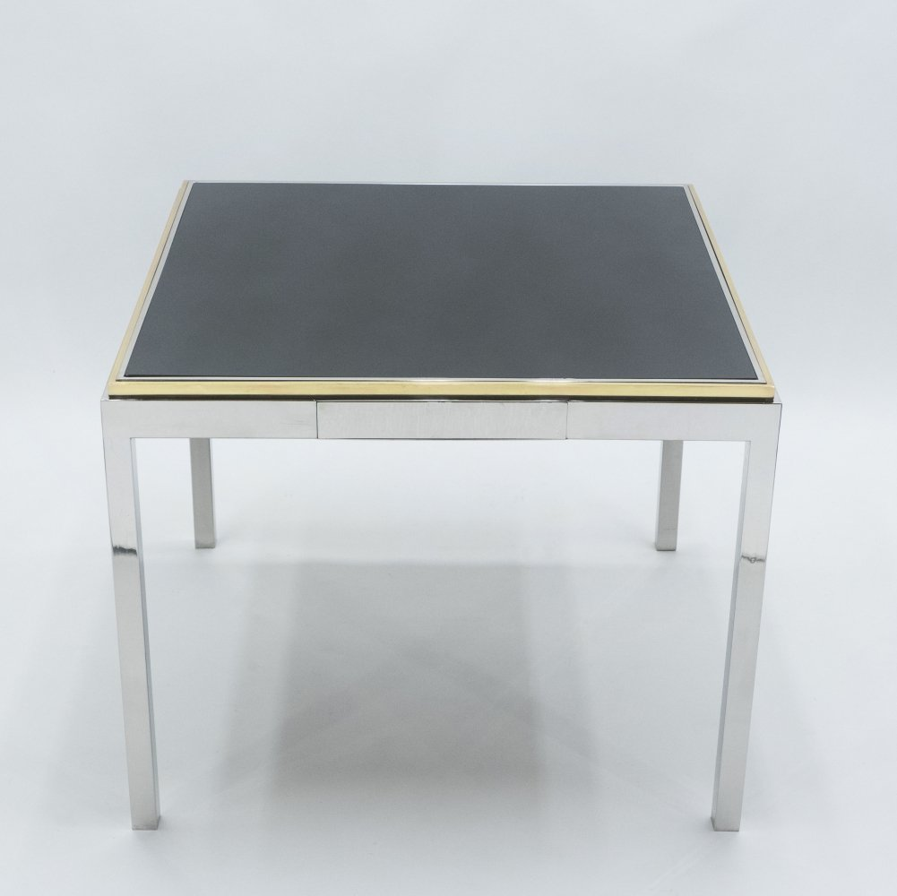 Willy Rizzo Lacquered Chrome & Brass Flaminia Game Table, 1970s