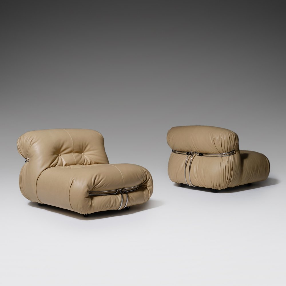 Soriana Lounge Chairs by Afra & Tobia Scarpa in Natural Italian Leather