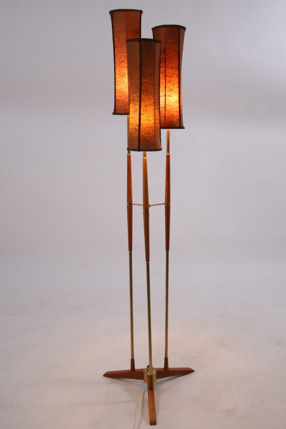Swedish Floor lamp in teak & brass with 3 shades, 1960s