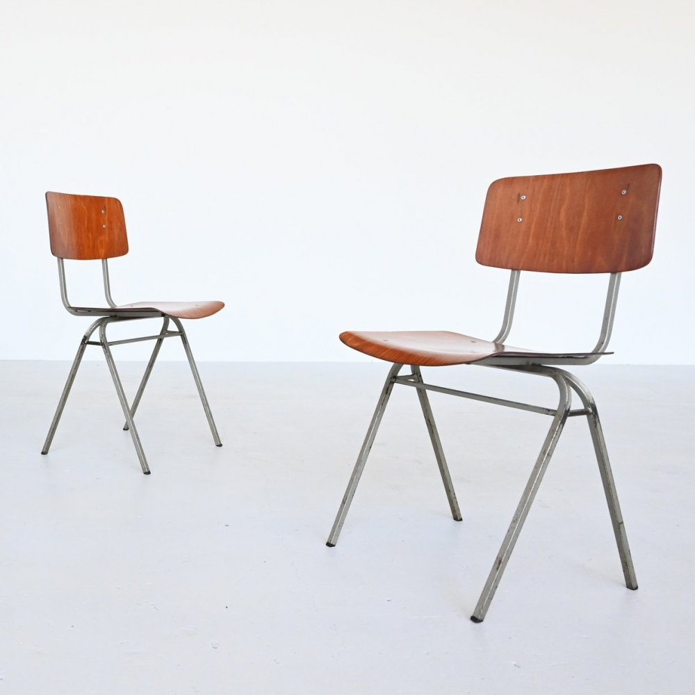 18 x Dutch industrial stacking chair, The Netherlands 1960s