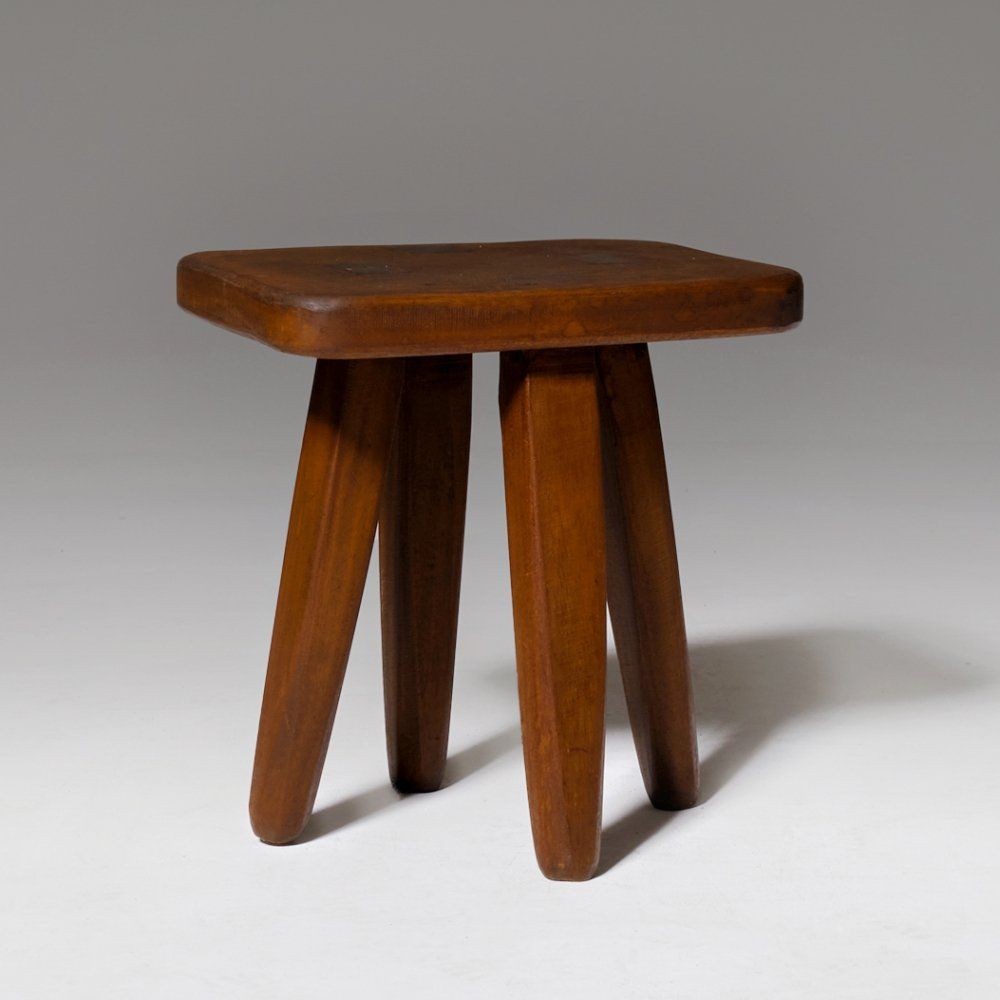 French Hand crafted wooden stool, 1960