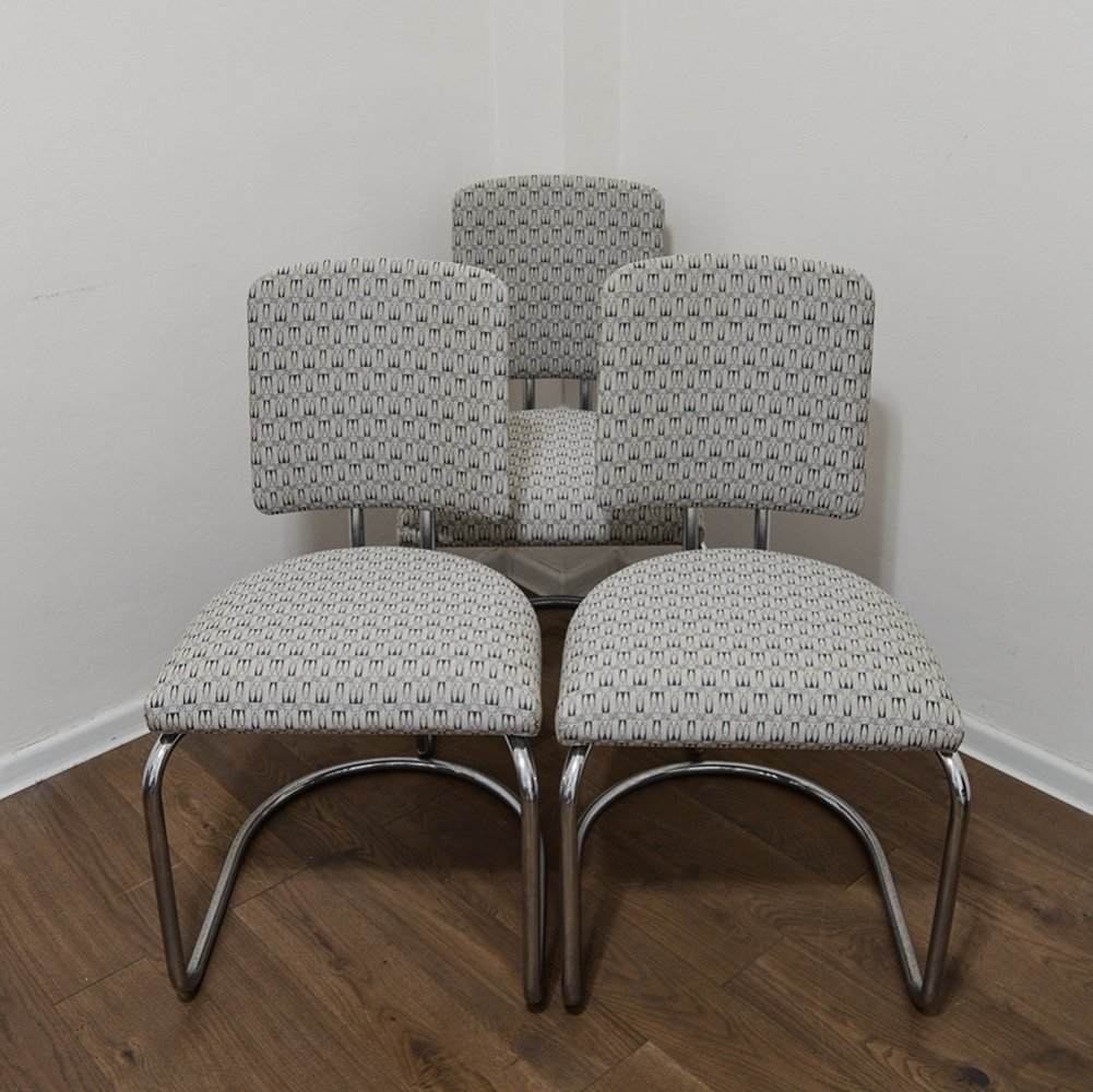 Set of 3 Bauhaus Chairs by Prof. F. A. Breuhaus, 1930