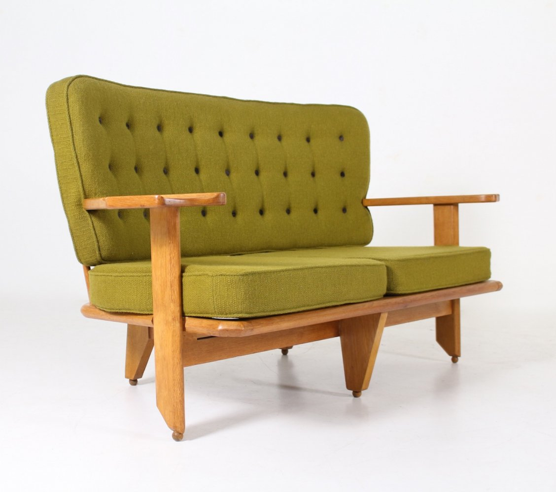 Green curved oak & fabric sofa by Guillerme & Chambron for Votre Maison, 1960s