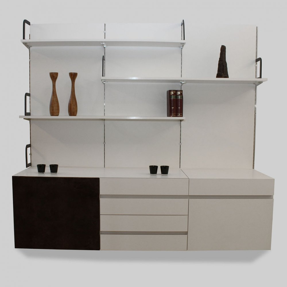 Custom order White wall unit by Debackere with wengé accents, 1970s